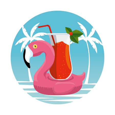 tropical flemish float with cocktail beverage vector illustration