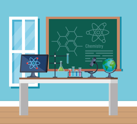 chemistry office with computer techology and microscope vector illustration Illustration