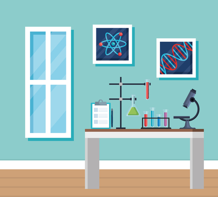 chemistry office with tubes diagnosis and microscope vector illustration Stock Vector - 119216603