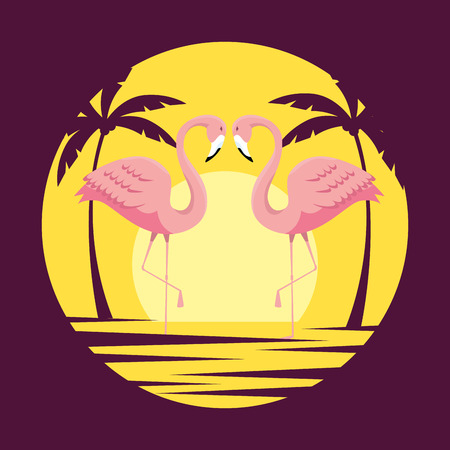 tropical flamingos with palm trees in the summer vector illustration
