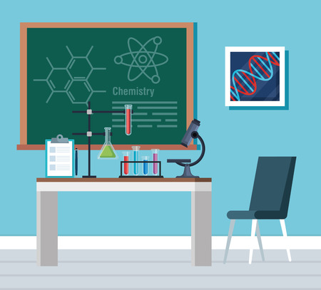 chemistry office with blackboard and tubes analysis vector illustration