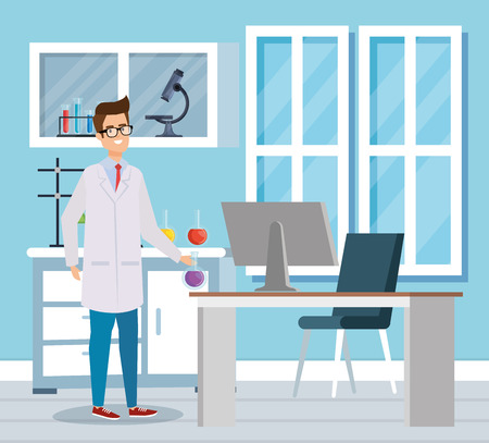 man chemist with computer and erlenmeyer flask vector illustration