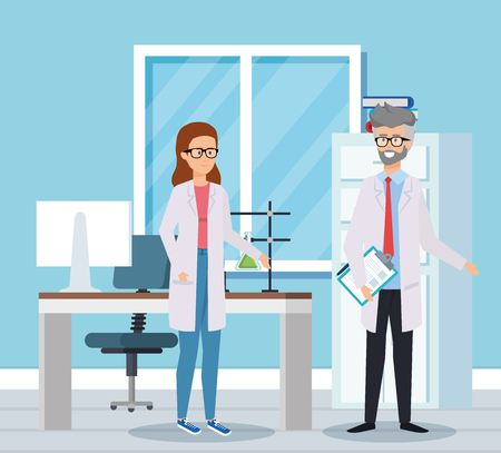 woman and old man chemists with tubes test vector illustration Illustration