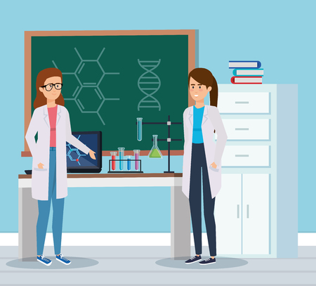 women chemists with erlenmeyer flask and books vector illustration Ilustracje wektorowe