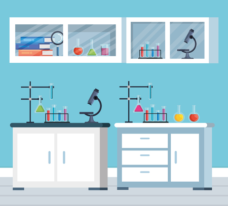 office chemistry with microscope and tubes test vector illustration