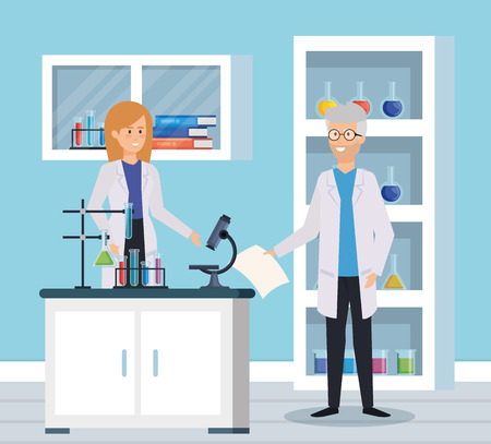 woman and old man chemists with microscope test vector illustration