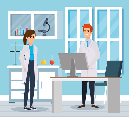 woman and man chemists with computer and microscope vector illustration