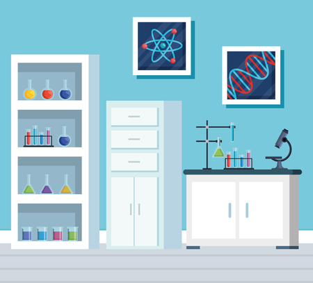 chemistry office with erlenmeyer flask in the shelf vector illustration