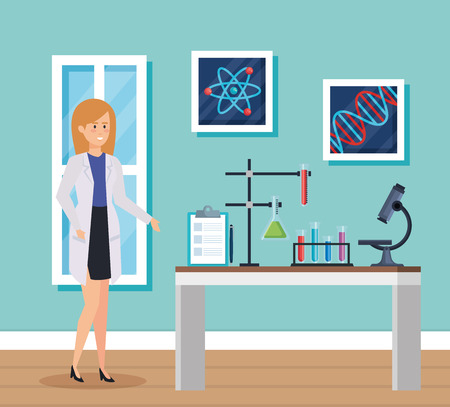 woman chemist with microscope and erlenmeyer flask vector illustration Illustration