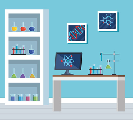 chemistry office with tubes test and computer vector illustration Stock Vector - 119216636