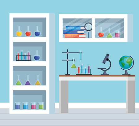 office chemistry with microscope technology and tubes vector illustration Illustration
