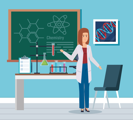 woman chemist with blackboard and erlenmeyer flask vector illustration