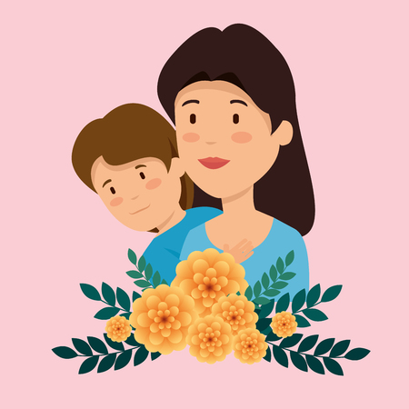 woman with her son and flowers plants with leaves vector illustration Ilustração