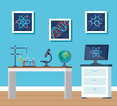 chemistry office with erlenmeyer flask and microscope vector illustration