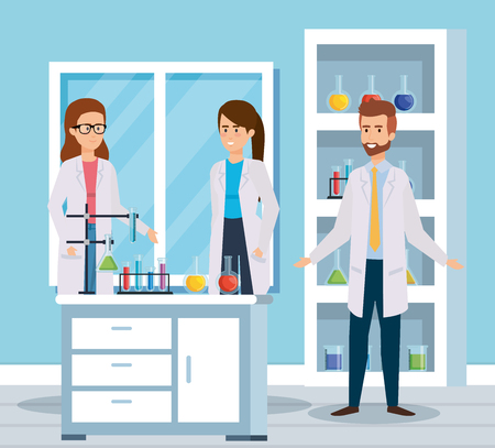 women and man chemists with erlenmeyer flask vector illustration