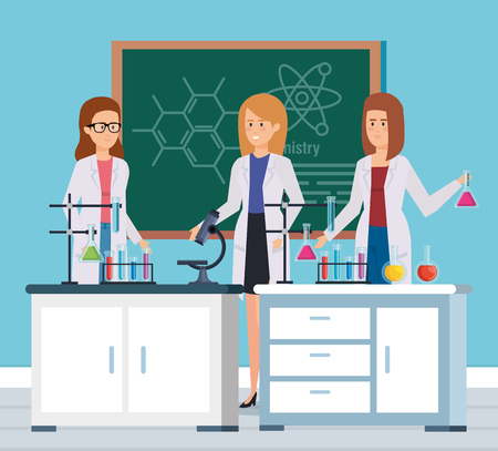 women chemists with microscope analysis and tubes vector illustration
