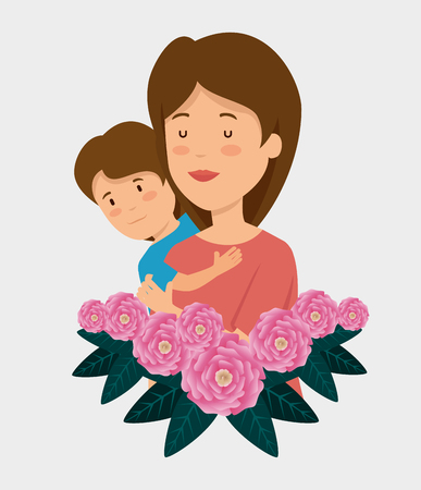 beauty woman with her son and roses with leaves vector illustration