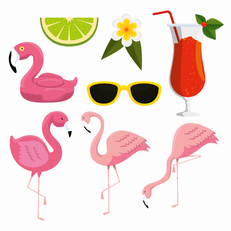set tropical flamingos with sunglasses and cocktail vector illustration Foto de archivo - 119235582