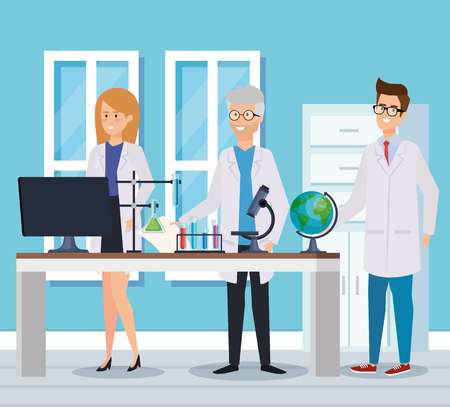 woman and men chemists with computer and tubes vector illustration