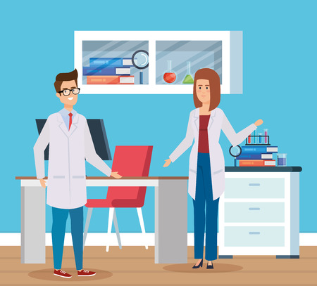 woman and man chemists with science books vector illustration Illustration