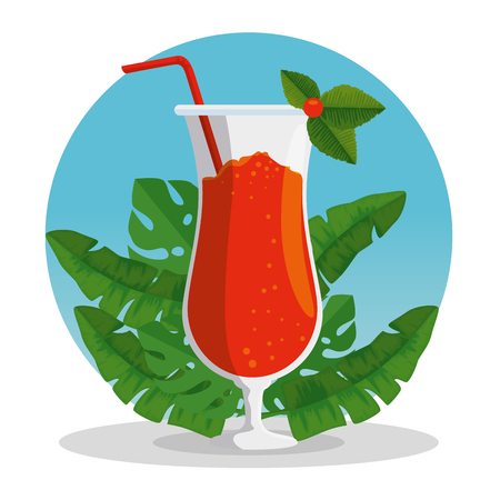 exotic cocktail beverage with tropical leaves vector illustration