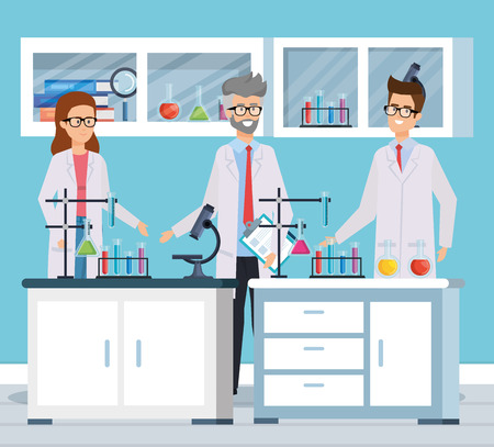 woman and men with microscope and tubes test vector illustration Illustration