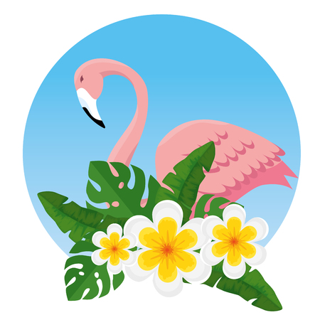 tropical flowers and leaves with exotic flemish vector illustration  イラスト・ベクター素材