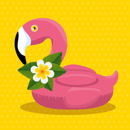 tropical flamish float with flowers and leaves vector illustration