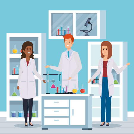 man and women chemists with erlenmeyer flask vector illustration