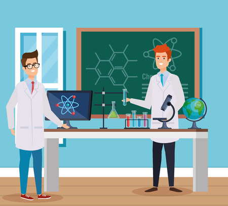 men chemists with blackboard and erlenmeyer flask vector illustration