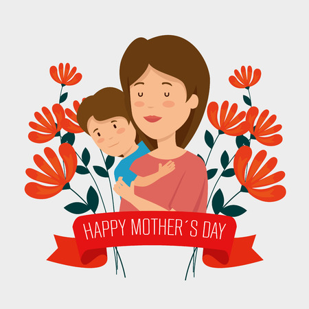 woman with her son and flowers plants with ribbon vector illustration
