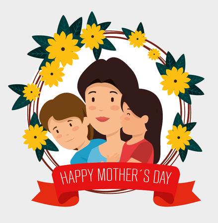 woman with her son and daughter to mothers day vector illustration