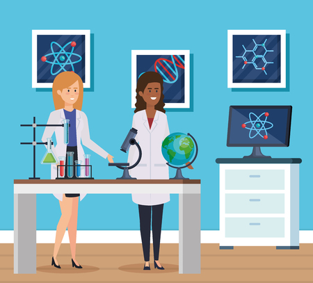 women chemist with microscope equipment and tubes vector illustration Illustration