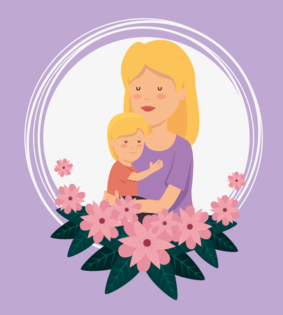 woman with her son and flowers with leaves to celebration vector illustration Stock Illustratie
