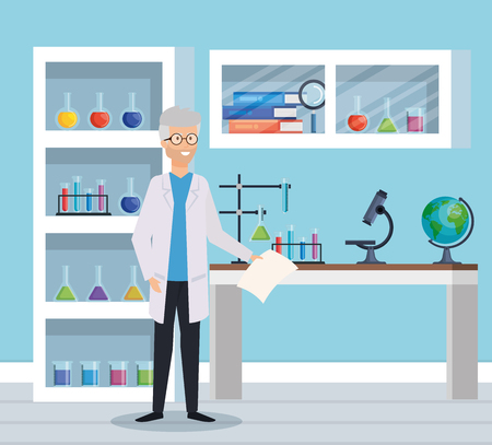 old man chemist with microscope equipment vector illustration