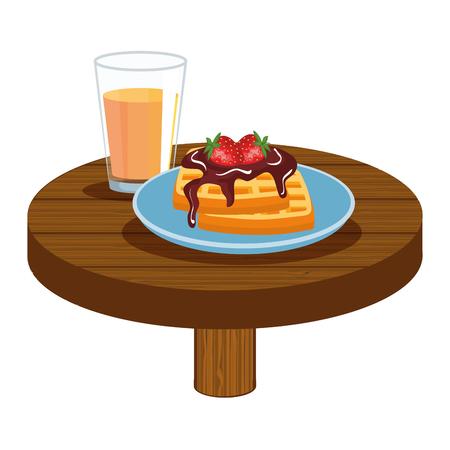 delicious breakfast in wooden table vector illustration design Banco de Imagens - 119237200