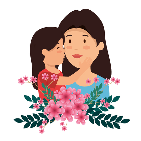 woman with her daughter and flowers plants with leaves vector illustration