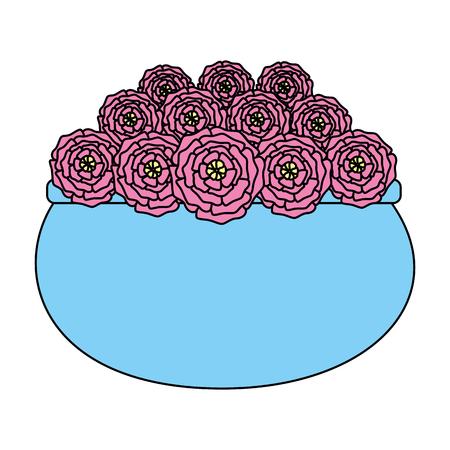 roses decoration in ceramic pot vector illustartion design Illustration