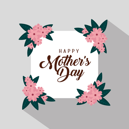 card with exotic flowers and leaves to celebrate mother day vector illustration