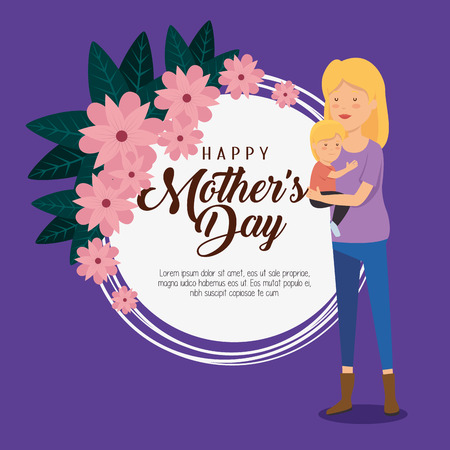 card decoration and woman with her son to mothers day vector illustration