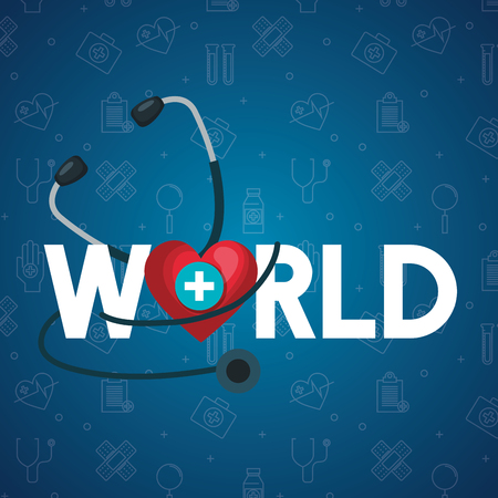 heart with cross and stethoscope to health day vector illustration Vector Illustration