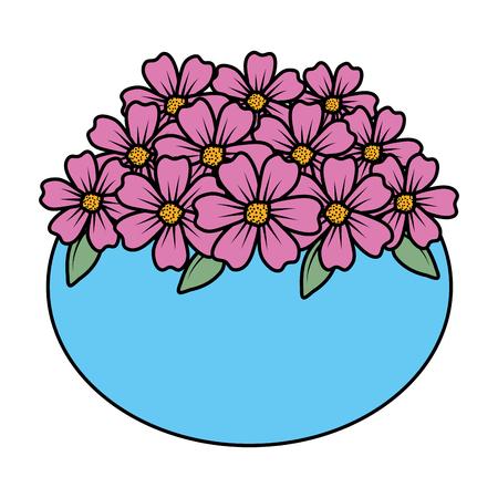 Blumendekoration im keramischen Topfvektorillustrationsdesign