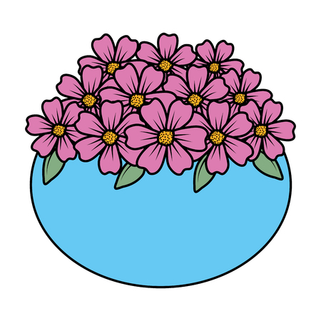 décoration florale dans la conception d'illustration vectorielle de pot en céramique