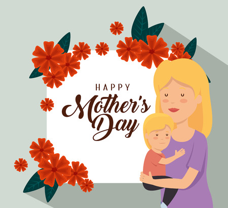 woman with her son and flowers decoration to mothers day vector illustration Illusztráció