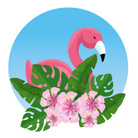 tropical flemish with exotic flowers and leaves vector illustration Иллюстрация