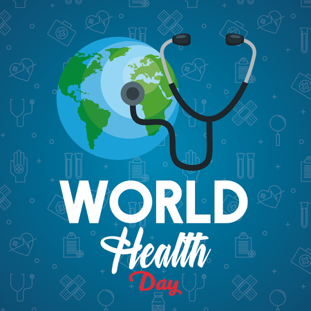 stethoscope examination earth planet to health day vector illustration Çizim