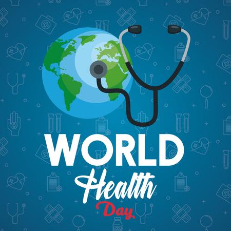 stetoscopio esame pianeta terra per la giornata della salute illustrazione vettoriale