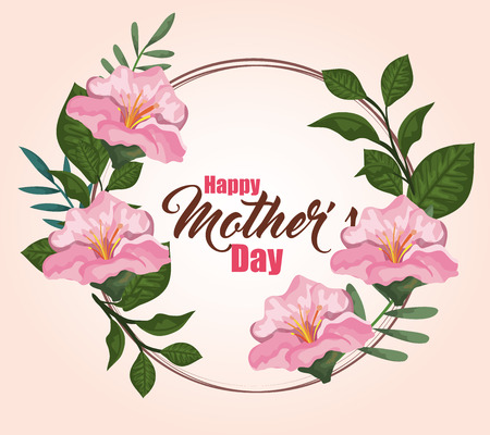 mothers day with nature flowers plants vector illustration