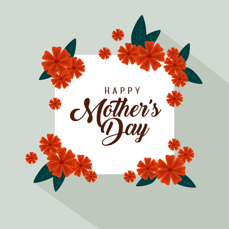 card with flowers and leaves to mothers day vector illustration Illusztráció
