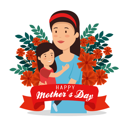 woman with her daughter and flowers to mothers day vector illustration